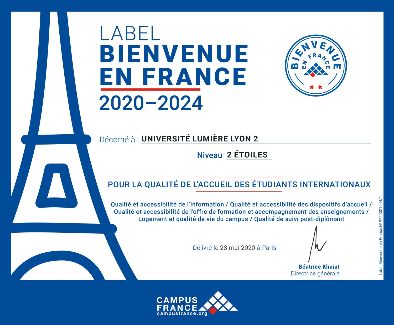 """Label """"Bienvenue en France"""" - 2 étoiles"""