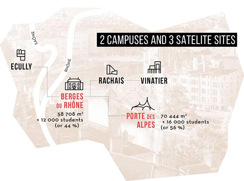 2 campuses & 3 satelite sites
